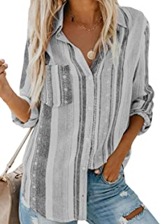 Astylish Women's V Neck Striped Roll up Sleeve Button Down Blouses Tops