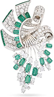 Adastra Jewelry Green Emerald White Round Vintage Style Brooch Pin For Women Handcrafted Solid 925 Sterling Silver (AAAAA (VVS D) Clarity)