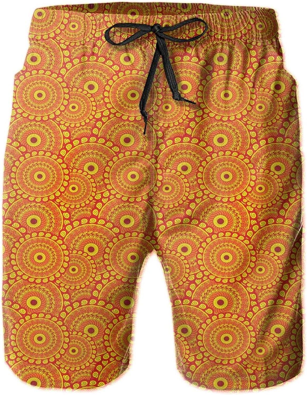 Spiral Swirling Arrangements Middle Eastern Enchanted Circles Drawstring Waist Beach Shorts for Men Swim Trucks Board Shorts with Mesh Lining,M