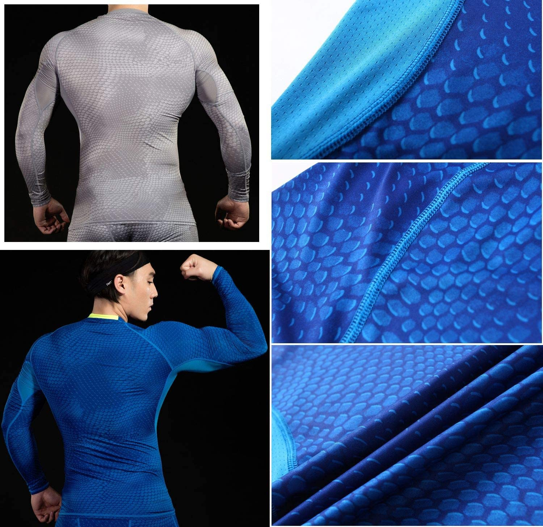 cuello redondo Camiseta de compresi/ón de manga larga i-select Shapewear dise/ño de escamas cintura acolchada