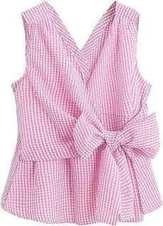 Women's Deep V Neck Sleeveless Bowknot Plaid Blouse Shell Top