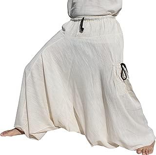 Raan Pah Muang 弹性腰部和脚踝宽松毛裤带拉口袋混合