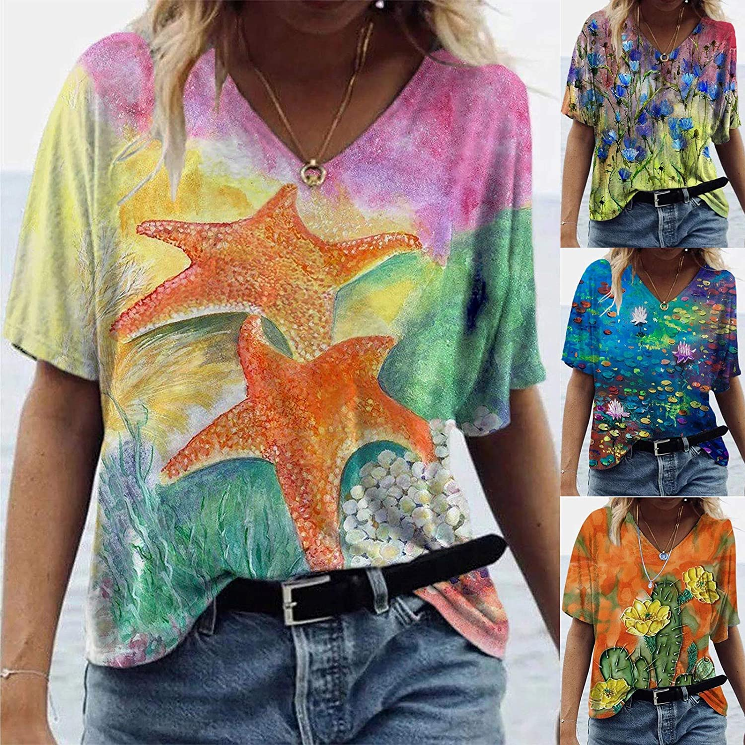 Women's Printed Short Sleeve Tops V-Neck Blouse Tees Casual Style Summer Tunic Tops V-Neck T-Shirt