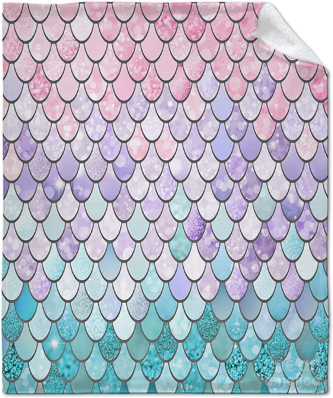 NIUJINMALI Pastel-Mermaid-Scales-Megan-Morris Today's only Throw Supe Max 71% OFF Blanket