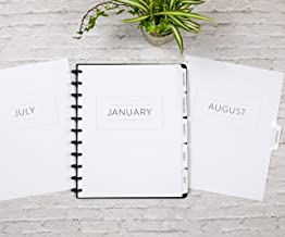 BetterNote 2020 Monthly Calendar with Tabbed Dividers for Disc-Bound Planners, Fits 11-Disc Levenger Circa, Arc by Staples, TUL by Office Depot, Letter Size 8.5
