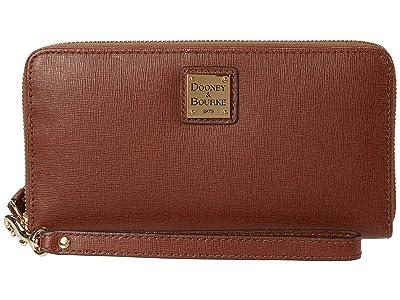 Dooney & Bourke Large Zip Around Wristlet (Amber) Clutch Handbags