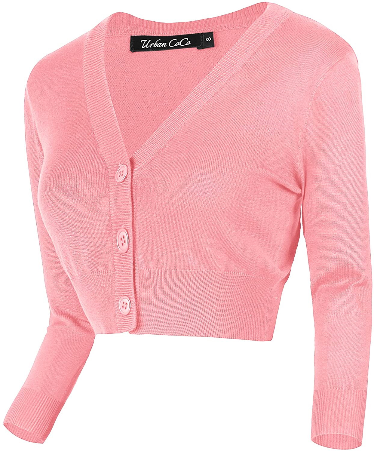 Urban CoCo Women's Cropped Outlet ☆ Free Shipping Cardigan Down Knitted S Inventory cleanup selling sale V-Neck Button
