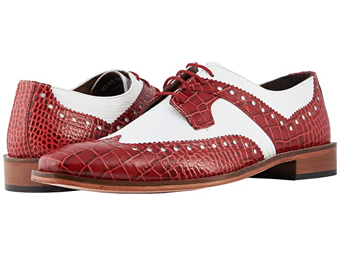 Mens Vintage Style Shoes & Boots| Retro Classic Shoes Stacy Adams Gusto Wingtip Oxford RedWhite Mens Shoes $69.86 AT vintagedancer.com