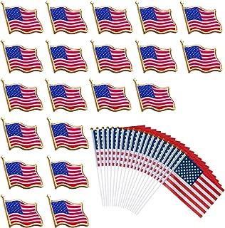 40 PCS American Flag Lapel Pin United States USA Waving Flag Pins and Flags