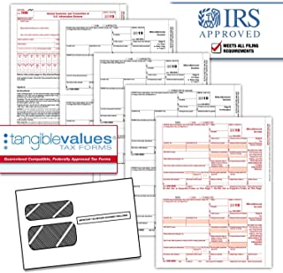 Tangible Values 1099 Misc Laser Forms (4-Part) Kit with Env for 25 Vendors + 3 Form 1096's (2019)
