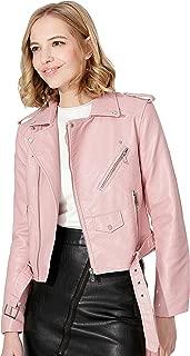 Women's Faux Leather Textured Short Moto Jacket Zip-up Slim PU Biker Coat with Pockets