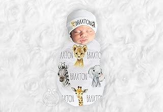 Baby Boy Personalized Safari Animal Neutral Jungle Nursery Swaddle Blanket