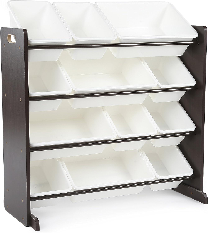 Tot Tutors Kids' Toy Storage Organizer with 12 Plastic Bins, Espresso White (Espresso Collection)