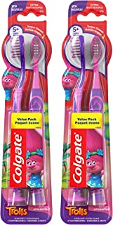 Colgate Kids Toothbrush, Trolls, Extra Soft with Suction Cups - 4Count