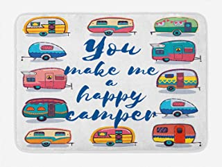 Lunarable Camper Bath Mat, You Make Me Happy Camper Motivational Quote with Caravans Retro Style Travel Graphic, Plush Bat...