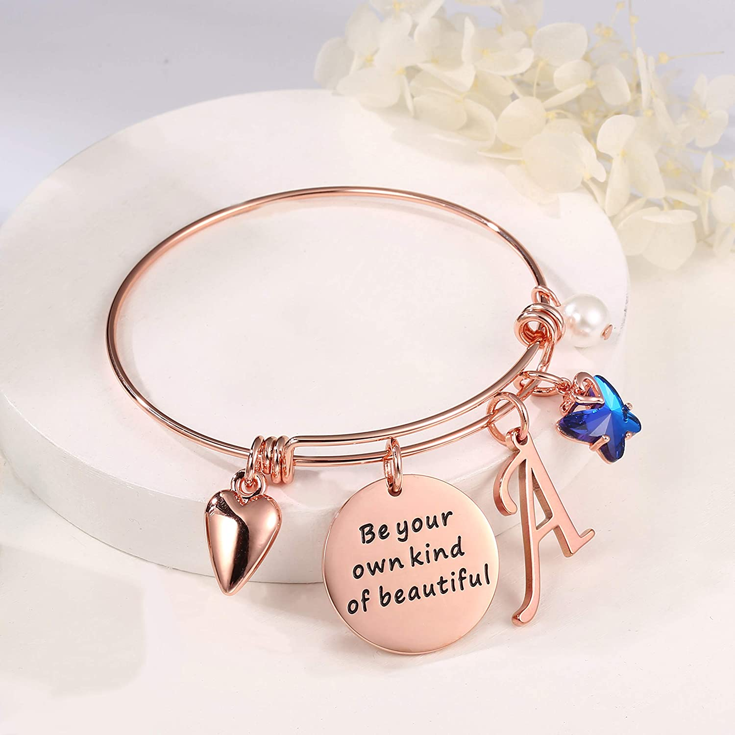Hidepoo Butterfly Charm Bracelets for Women, Be Your Own Kind of Beautifully Rose Gold Inspirational Bangle Expandable 26 Letters Initial Charms Bracelets Jewelry Gifts for Women Girls