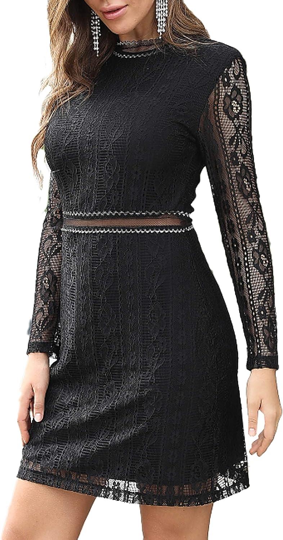 Aphratti Women's Slim Fit Long Sleeve Cocktail Party Mini Lace Dress