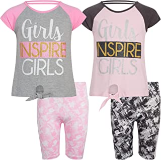 Real Love Girls' Active Shorts Set - 4 Piece Performance Top and Bike Shorts Kids Clothing Set (Little Girl/Big Girl)