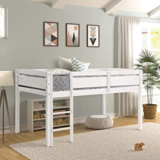 Twin Loft Bed for Kids with Ladder, Wood Kids Low Loft Bed Frame, No Box Spring Needed,Twin Size, White