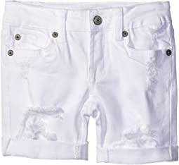 Five-Pocket Bermuda Roll Cuff Shorts in Destructed White (Little Kids)