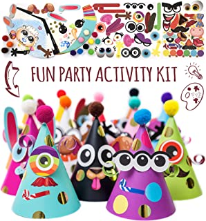 Party Hats Birthday Activity Kit with Stickers, Fun Arts & Crafts for Kids. Animal & Monster Theme Party Favor, Game Supplies
