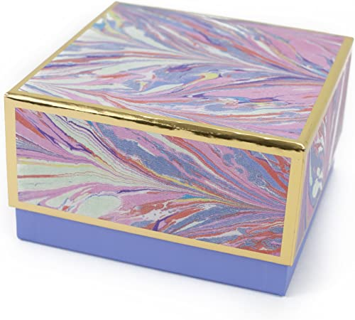 "Hallmark Signature 7"" Medium Gift Box (Marble, Pink, Lavender, Gold) for Mothers Day, Valentines Day, Birthdays, Brid..."