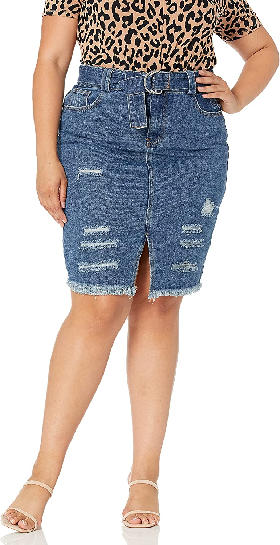 City Chic Women's Apparel Women's Plus Size Pencil Distress Detailed Denim Skirt