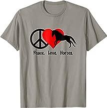 Peace Love Horses T-Shirt Shirt Tee - Horse Pony Lover Rider