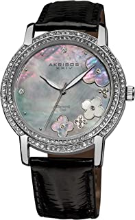 Akribos XXIV Women's Swiss Quartz Diamond Watch- Grey Mother of Pearl Dial Applied Flower Dial - Silver Crystal Bezel - Black Genuine Leather Strap - AK580