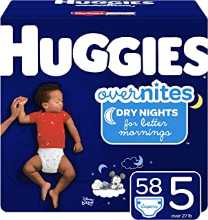 HUGGIES OverNites Diapers, Size 5, 58 ct, Overnight Diapers (Packaging May Vary)