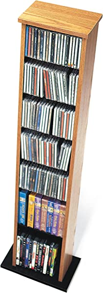 Oak Black Slim Multimedia Storage Tower