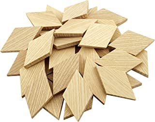 "2.3""x1.34"" Wood Diamond Shape Unfinished Wood Mosaic Tile - 30 pcs"
