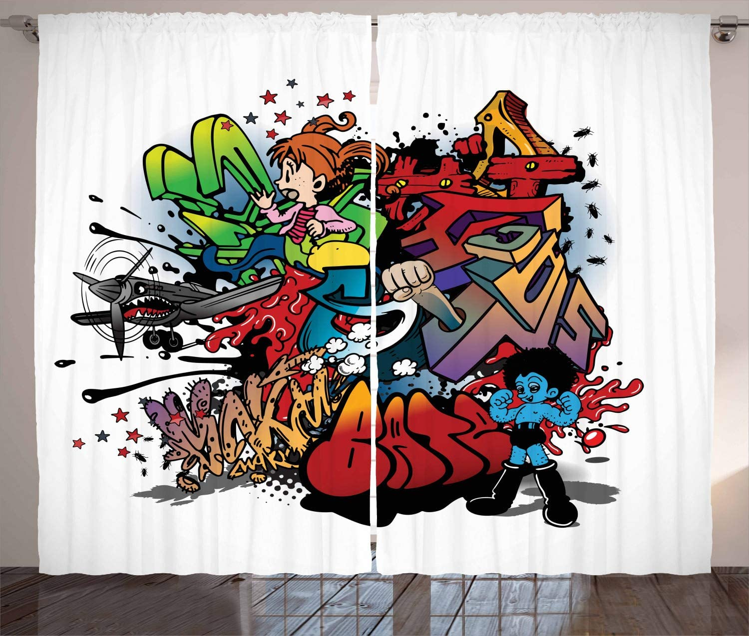 Lunarable Art Curtains Graffiti Urban Street Designs Colorful Composition Of Abstract Slogans Living Room Bedroom Window Drapes 2 Panel Set 108 X 63 Multicolor Home Kitchen Amazon Com