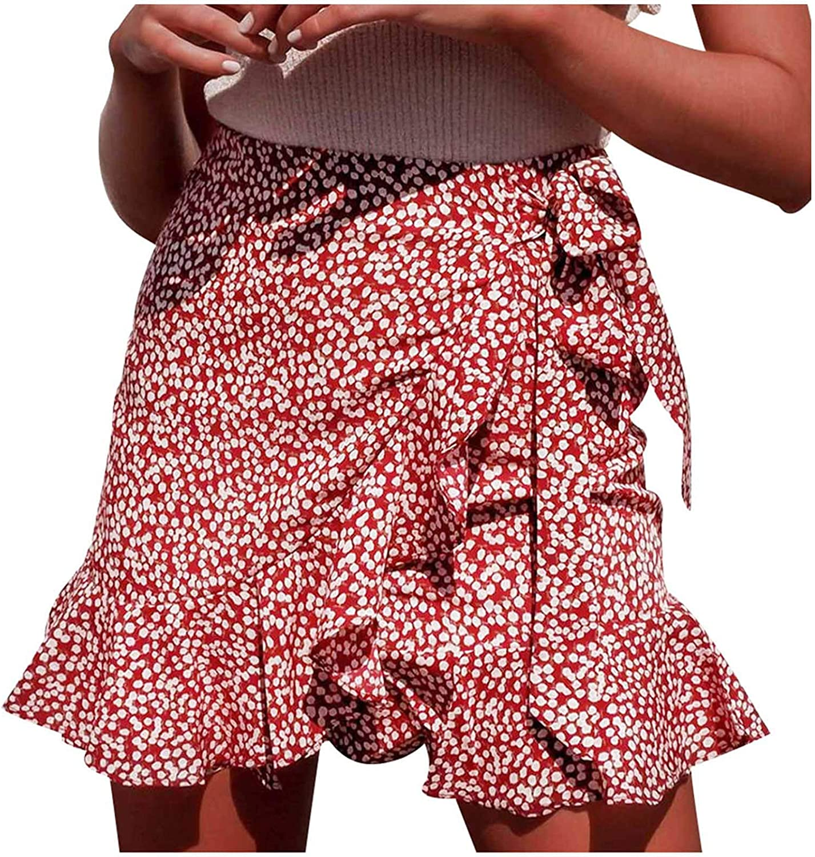 Basysin Skirt for Women Girls Falbala Printing Tie High Waist Mini Casual Skirts