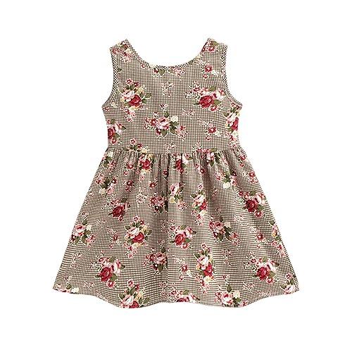49ce74a50d62 Tecrok Toddler Girls Dress Sleeveless Vintage Flower Dresses Plaid Sundress  for Age 2-7 Years