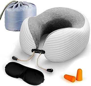 Lyn's Almohada Cuello, Almohada Viaje Espuma Memoria, Funda de algodón Puro Transpirable, Kit de Viaje de avión con máscara para los Ojos, Tapones para los oídos y Bolsa de Almacenamiento (Gris)