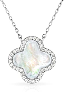 Unique royal jewelry Sterling Silver Four Leaf Clover Mother of Pearl Necklace with Continuous Adjustable Length 16