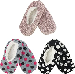 Adult Women's Footies Slippers Non-Slip Lined Home Travel Socks - Varies Style and Colors - Value Pack
