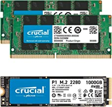 Crucial 32GB (2x16GB) DDR4 2666MHz SODIMM Memory Bundle with P1 1TB 3D NAND NVMe PCIe SSD Compatible with OptiPlex MFF 305...
