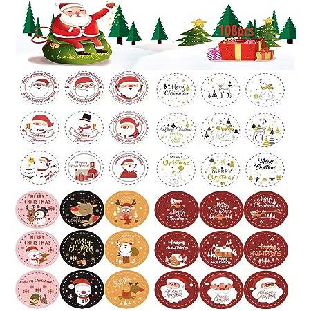 Personnalisé Noël 21 étiquettes collantes étiquettes par feuille cadeau de Noël Tag