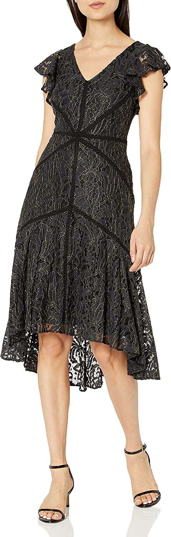 Nashville-Davidson Mall Taylor Dresses Women's Ruffle Sleeve Dres High Lace New life Metallic Low