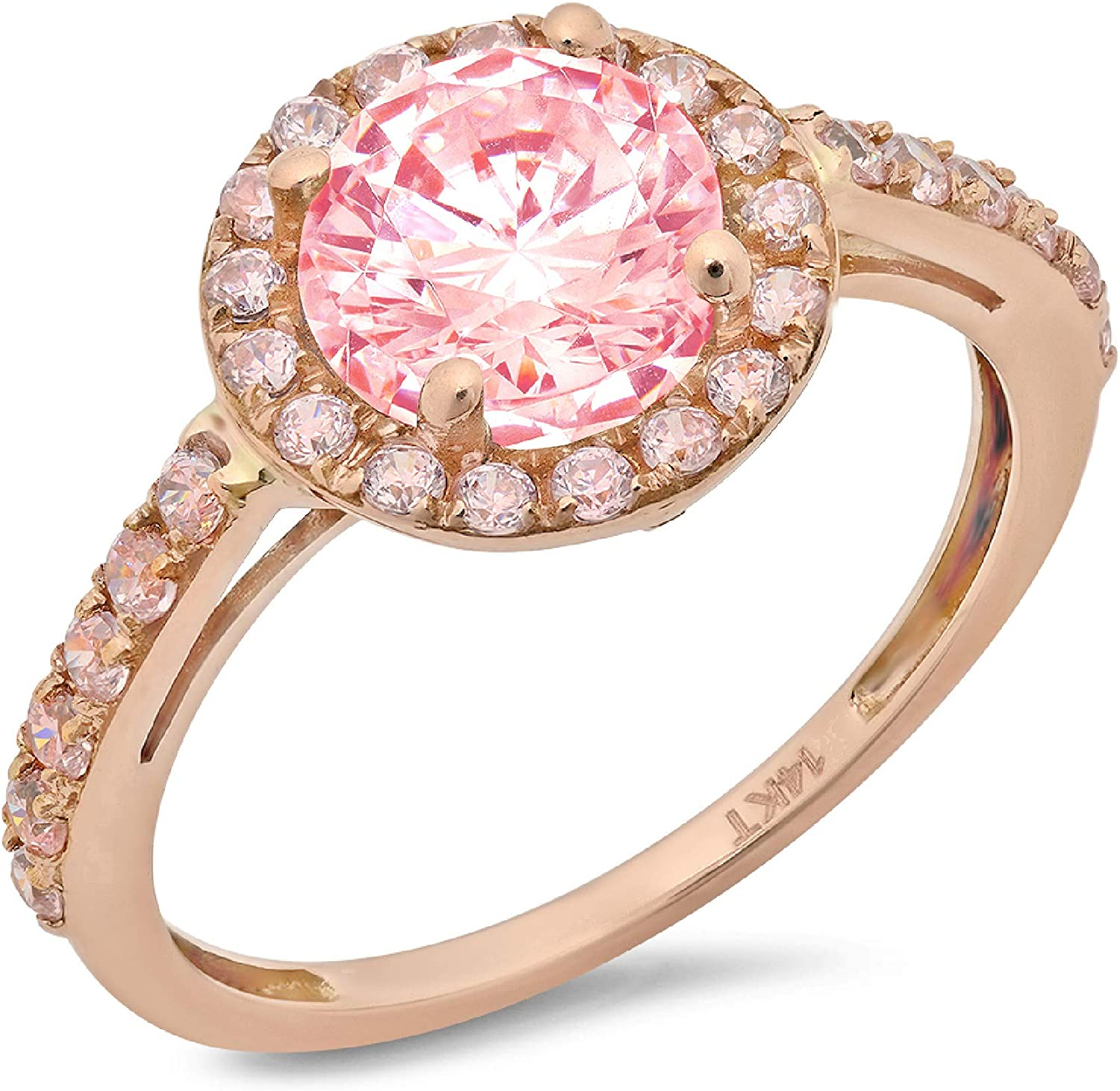 2.34ct Brilliant Round Cut Solitaire Halo Pink Ideal VVS1 Simulated Diamond CZ Engagement Promise Statement Anniversary Bridal Wedding Accent Ring Solid 14k Rose Gold