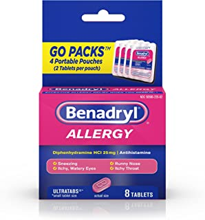 Benadryl Ultratabs Go Packs, Antihistamine Tablets with Diphenhydramine HCl, 4 packets of 2-ct.