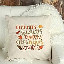 Dozili Fall Pillow Cover Fall Decor Flannels Hayrides Pumpkins Cider Leaves Bonfires Throw Pillow