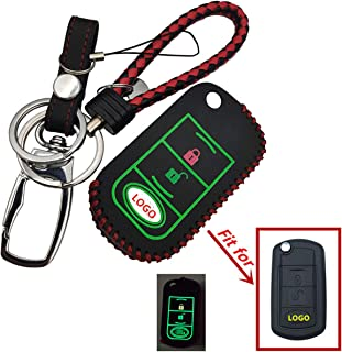 BINOWEN The Best Luminous Leather Genuine Leather Key Fob case Cover for Land Rover Range Rover Sport LR3 Discovery with Keychain Holder
