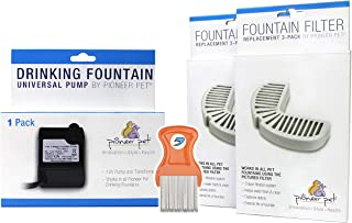 Pioneer Pet 3026A Replacement Pump | 2 Pack of Pioneer Pet 3002 Replacement Filters (Total Of 6) | RandStar Mini Comb