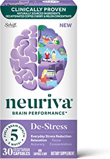 Nootropic Brain Support Supplement - NEURIVA De-Stress Capsules (30 Count in a Bottle), for Everyday Stress Reduction, Rel...