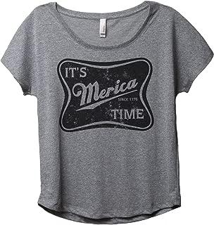 It's Merica Time Women's Fashion Slouchy Dolman T-Shirt Tee