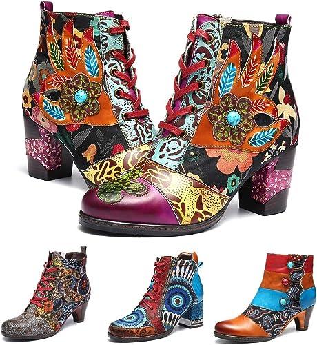 Camfosy Botines de Tacón de para damen Stiefel de Cuero de Invierno Cálido con Tacón Alto Stiefel de Invierno Cómodas Stiefel con Cremallera Stiefel Originales Boheme 2018