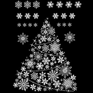 Boao Christmas Tree Window Clings Decals Christmas Snowflake Window Clings Xmas Stars Window Decorations Stickers Decal for Christmas Decorations Supplies, 8 Sheets (Style Set 2)